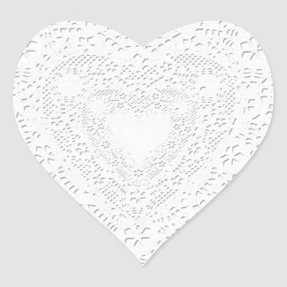 Faux White Lace Fabric Background Heart Sticker