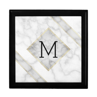 Faux White Marble & Beige Alabaster With Monogram Gift Box