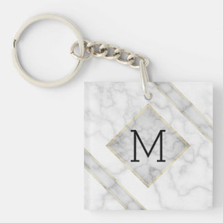 Faux White Marble & Beige Alabaster With Monogram Keychain