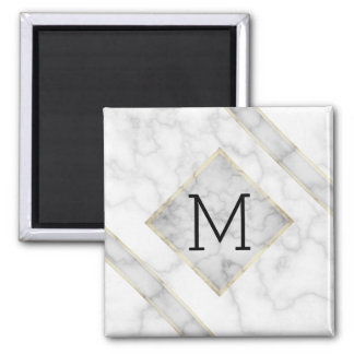 Faux White Marble & Beige Alabaster With Monogram Magnet