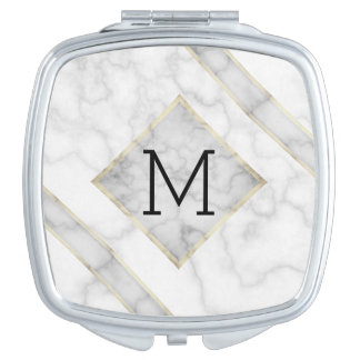 Faux White Marble & Beige Alabaster With Monogram Mirror For Makeup