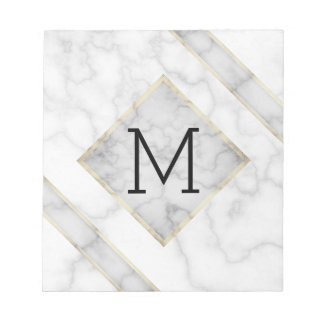 Faux White Marble & Beige Alabaster With Monogram Notepad