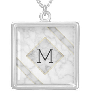 Faux White Marble & Beige Alabaster With Monogram Silver Plated Necklace