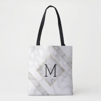 Faux White Marble & Beige Alabaster With Monogram Tote Bag