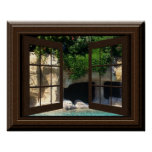 Faux Window Poster Peaceful Cave With Water