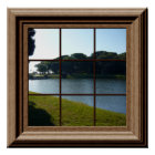 Faux Window Poster Peaceful Landscape With Pond