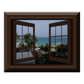 Faux Window Poster Peaceful Ocean Scene Tropical