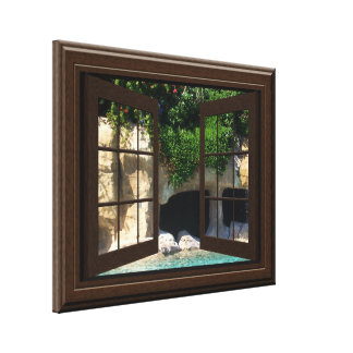 Faux Window Scene Water Cave Peaceful Relaxing Canvas Print