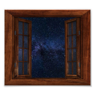 Faux Window View Milky Way Space Stars Fantasy Poster