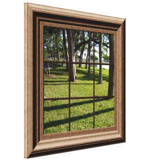 Faux Window View Peaceful Landscape With Trees Canvas Print