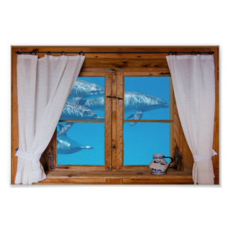 Faux Window View Underwater Dolphins Ocean Fun Poster