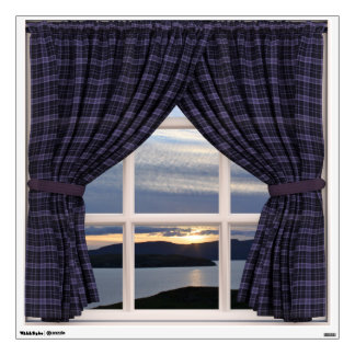 Faux Window with Tartan Drapes and Scotland View Wall Decal