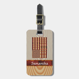 Faux wood American flag Tags For Bags