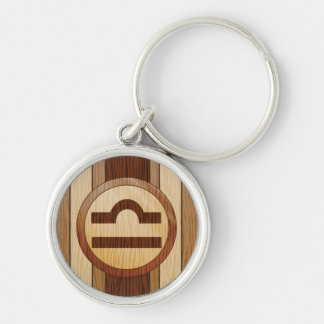 Faux Wood Astrology Libra Symbol Silver-Colored Round Keychain