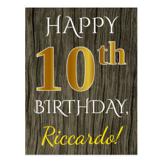 Faux Wood, Faux Gold 10th Birthday + Custom Name Postcard