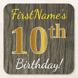 Faux Wood, Faux Gold 10th Birthday + Custom Name Square Paper Coaster