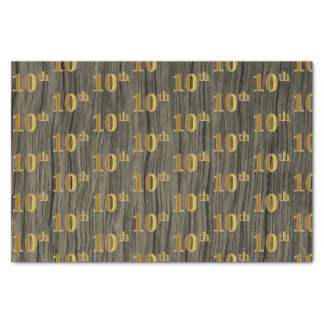 Faux Wood, Faux Gold 10th (Tenth) Event Tissue Paper