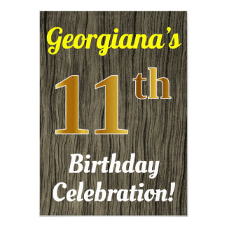 Faux Wood, Faux Gold 11th Birthday Celebration Card