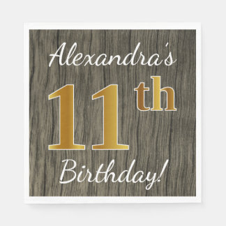 Faux Wood, Faux Gold 11th Birthday + Custom Name Disposable Napkins