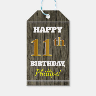 Faux Wood, Faux Gold 11th Birthday + Custom Name Gift Tags