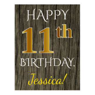 Faux Wood, Faux Gold 11th Birthday + Custom Name Postcard
