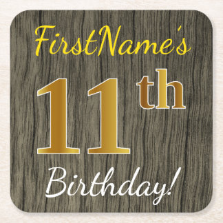Faux Wood, Faux Gold 11th Birthday + Custom Name Square Paper Coaster