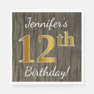 Faux Wood, Faux Gold 12th Birthday + Custom Name Disposable Napkin