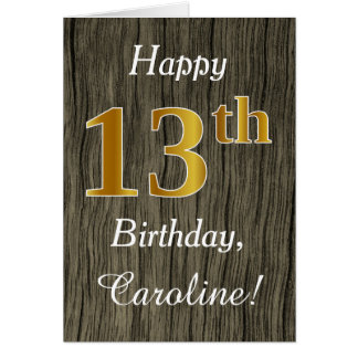 Faux Wood, Faux Gold 13th Birthday + Custom Name Card