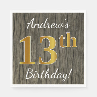 Faux Wood, Faux Gold 13th Birthday + Custom Name Paper Napkin