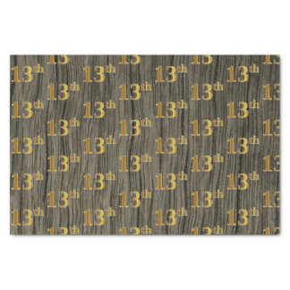 Faux Wood, Faux Gold 13th (Thirteenth) Event Tissue Paper
