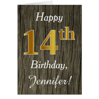 Faux Wood, Faux Gold 14th Birthday + Custom Name Card