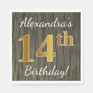 Faux Wood, Faux Gold 14th Birthday + Custom Name Disposable Napkins
