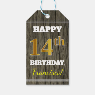 Faux Wood, Faux Gold 14th Birthday + Custom Name Gift Tags