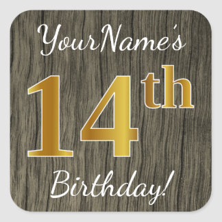 Faux Wood, Faux Gold 14th Birthday + Custom Name Square Sticker