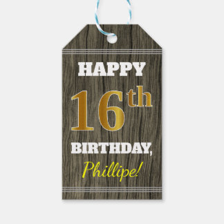 Faux Wood, Faux Gold 16th Birthday + Custom Name Gift Tags