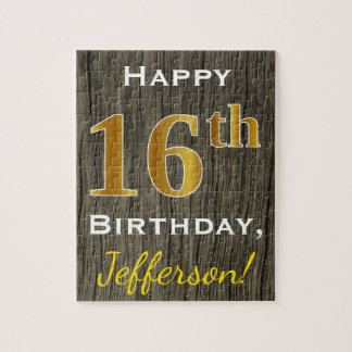 Faux Wood, Faux Gold 16th Birthday + Custom Name Jigsaw Puzzle