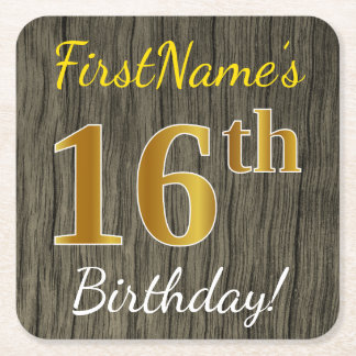 Faux Wood, Faux Gold 16th Birthday + Custom Name Square Paper Coaster
