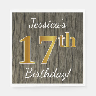 Faux Wood, Faux Gold 17th Birthday + Custom Name Disposable Napkin