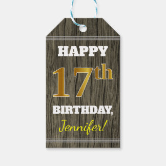 Faux Wood, Faux Gold 17th Birthday + Custom Name Gift Tags