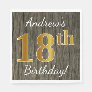 Faux Wood, Faux Gold 18th Birthday + Custom Name Disposable Napkins