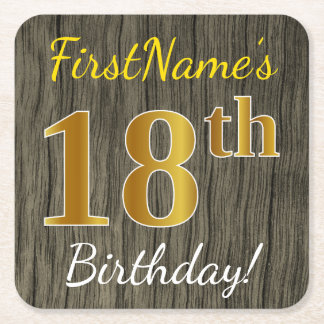 Faux Wood, Faux Gold 18th Birthday + Custom Name Square Paper Coaster