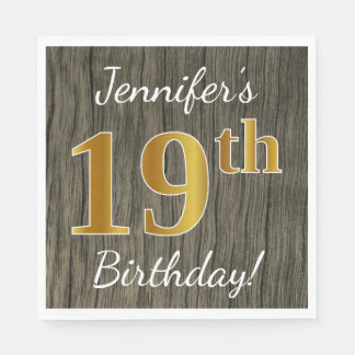 Faux Wood, Faux Gold 19th Birthday + Custom Name Paper Napkins