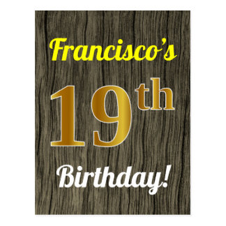 Faux Wood, Faux Gold 19th Birthday & Custom Name Postcard