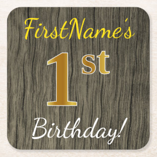 Faux Wood, Faux Gold 1st Birthday + Custom Name Square Paper Coaster
