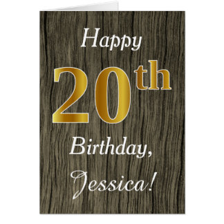 Faux Wood, Faux Gold 20th Birthday + Custom Name Card