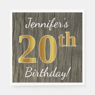 Faux Wood, Faux Gold 20th Birthday + Custom Name Paper Napkin