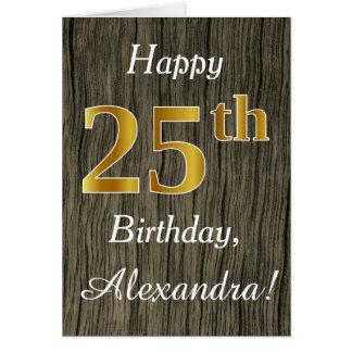 Faux Wood, Faux Gold 25th Birthday + Custom Name Card