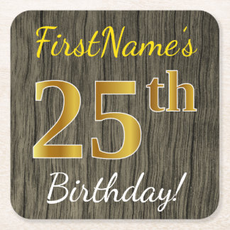 Faux Wood, Faux Gold 25th Birthday + Custom Name Square Paper Coaster
