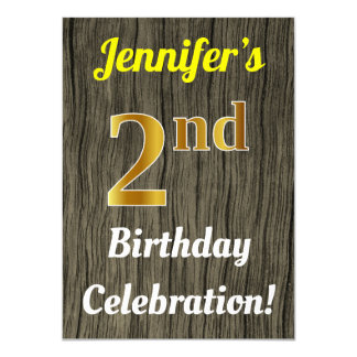 Faux Wood, Faux Gold 2nd Birthday Celebration Card
