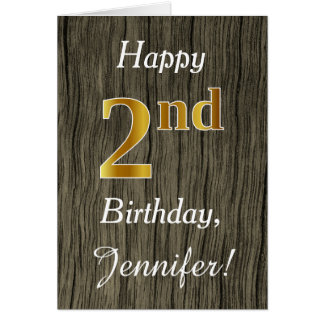 Faux Wood, Faux Gold 2nd Birthday + Custom Name Card